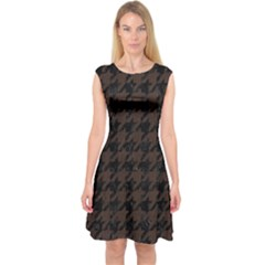 Houndstooth1 Black Marble & Dark Brown Wood Capsleeve Midi Dress