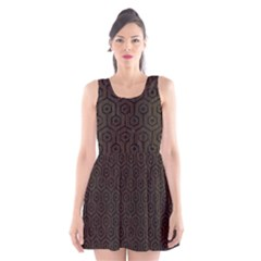 Hexagon1 Black Marble & Dark Brown Wood Scoop Neck Skater Dress