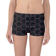 Hexagon2 Black Marble & Dark Brown Wood (r) Reversible Boyleg Bikini Bottoms