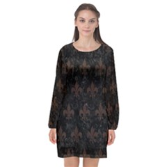 Royal1 Black Marble & Dark Brown Wood Long Sleeve Chiffon Shift Dress