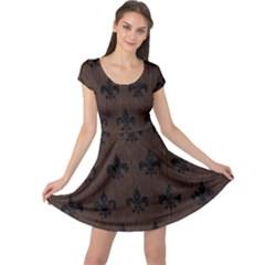 Royal1 Black Marble & Dark Brown Wood (r) Cap Sleeve Dress