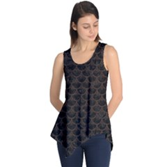Scales3 Black Marble & Dark Brown Wood (r) Sleeveless Tunic