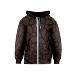 Skin1 Black Marble & Dark Brown Wood (r) Kids  Zipper Hoodie
