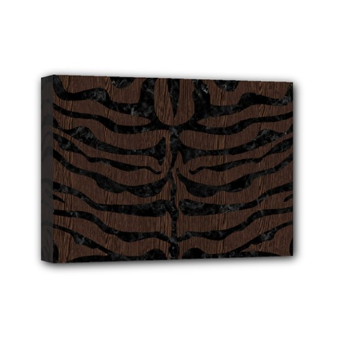 Skin2 Black Marble & Dark Brown Wood Mini Canvas 7  X 5