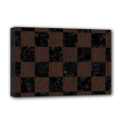 Square1 Black Marble & Dark Brown Wood Deluxe Canvas 18  X 12