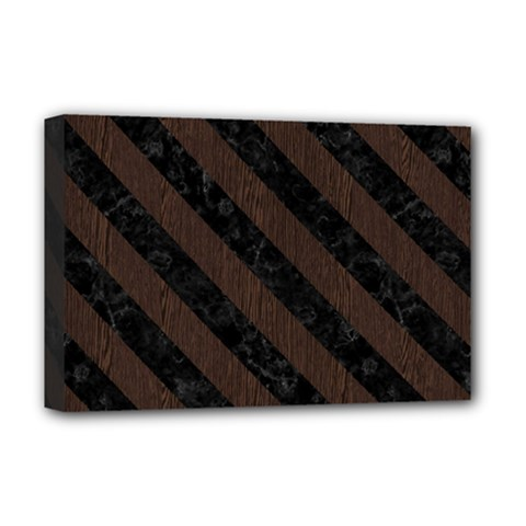 Stripes3 Black Marble & Dark Brown Wood Deluxe Canvas 18  X 12