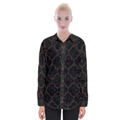 Tile1 Black Marble & Dark Brown Wood (r) Womens Long Sleeve Shirt