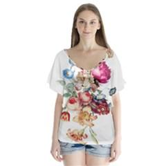 Fleur Vintage Floral Painting V Neck Flutter Sleeve Top