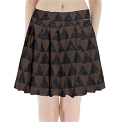 Triangle3 Black Marble & Dark Brown Wood Pleated Mini Skirt