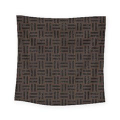 Woven1 Black Marble & Dark Brown Wood Square Tapestry (small)