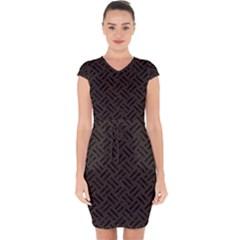 Woven2 Black Marble & Dark Brown Wood Capsleeve Drawstring Dress