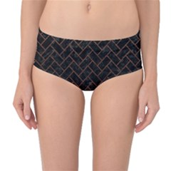 Brick2 Black Marble & Dull Brown Leather (r) Mid Waist Bikini Bottoms