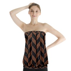 Chevron1 Black Marble & Dull Brown Leather Strapless Top