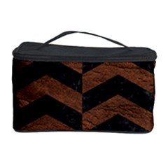 Chevron2 Black Marble & Dull Brown Leather Cosmetic Storage Case