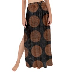 Circles1 Black Marble & Dull Brown Leather (r) Maxi Chiffon Tie Up Sarong