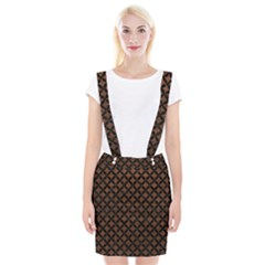 Circles3 Black Marble & Dull Brown Leather Braces Suspender Skirt