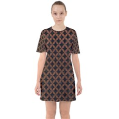 Circles3 Black Marble & Dull Brown Leather (r) Sixties Short Sleeve Mini Dress