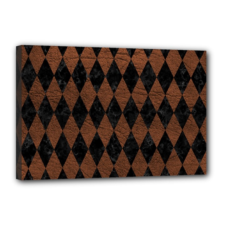 DIAMOND1 BLACK MARBLE & DULL BROWN LEATHER Canvas 18  x 12