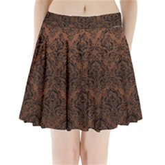 Damask1 Black Marble & Dull Brown Leather Pleated Mini Skirt