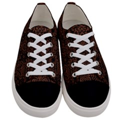 Damask2 Black Marble & Dull Brown Leather (r) Women s Low Top Canvas Sneakers