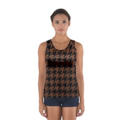 Houndstooth1 Black Marble & Dull Brown Leather Sport Tank Top