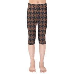 Houndstooth1 Black Marble & Dull Brown Leather Kids  Capri Leggings