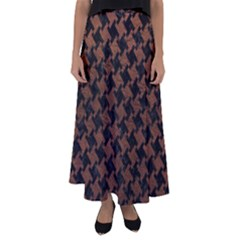 Houndstooth2 Black Marble & Dull Brown Leather Flared Maxi Skirt