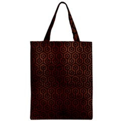 Hexagon1 Black Marble & Dull Brown Leather Zipper Classic Tote Bag