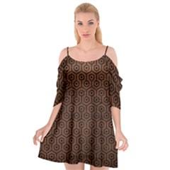Hexagon1 Black Marble & Dull Brown Leather Cutout Spaghetti Strap Chiffon Dress