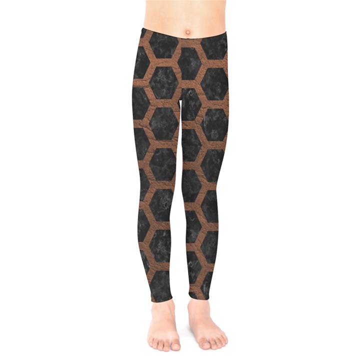 HEXAGON2 BLACK MARBLE & DULL BROWN LEATHER (R) Kids  Legging