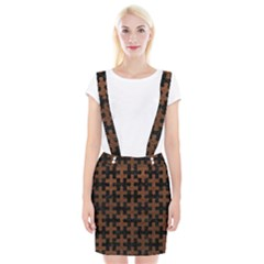 Puzzle1 Black Marble & Dull Brown Leather Braces Suspender Skirt