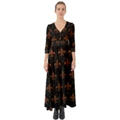 Royal1 Black Marble & Dull Brown Leather Button Up Boho Maxi Dress