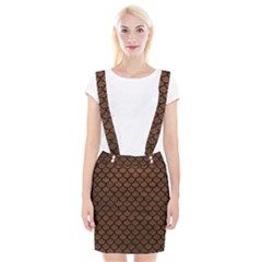 Scales1 Black Marble & Dull Brown Leather Braces Suspender Skirt