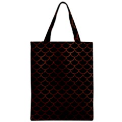 Scales1 Black Marble & Dull Brown Leather (r) Zipper Classic Tote Bag