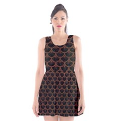 Scales3 Black Marble & Dull Brown Leather (r) Scoop Neck Skater Dress