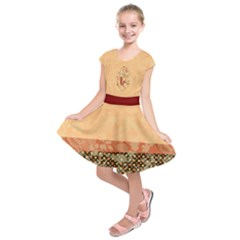 Peach Vintage Fox Faux Lace Pattern Kids  Short Sleeve Dress