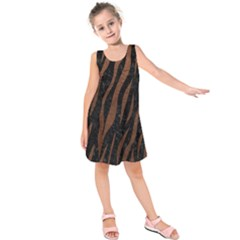 Skin3 Black Marble & Dull Brown Leather (r) Kids  Sleeveless Dress