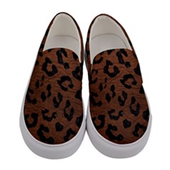 Skin5 Black Marble & Dull Brown Leather (r) Women s Canvas Slip Ons
