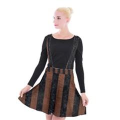 Stripes1 Black Marble & Dull Brown Leather Suspender Skater Skirt