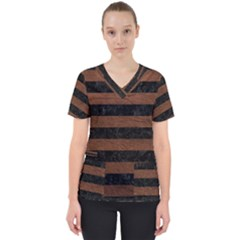 Stripes2 Black Marble & Dull Brown Leather Scrub Top
