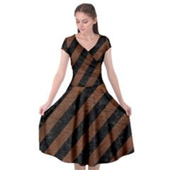 Stripes3 Black Marble & Dull Brown Leather (r) Cap Sleeve Wrap Front Dress