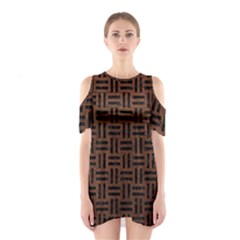 Woven1 Black Marble & Dull Brown Leather Shoulder Cutout One Piece