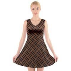 Woven2 Black Marble & Dull Brown Leather V Neck Sleeveless Skater Dress