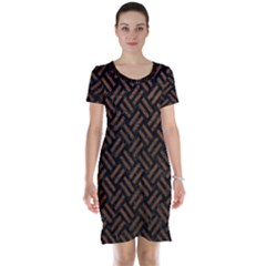 Woven2 Black Marble & Dull Brown Leather (r) Short Sleeve Nightdress