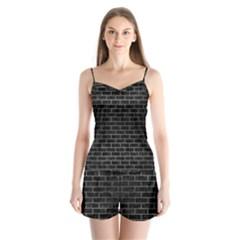 Brick1 Black Marble & Gray Brushed Metal (r) Satin Pajamas Set