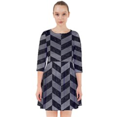 Chevron1 Black Marble & Gray Brushed Metal Smock Dress
