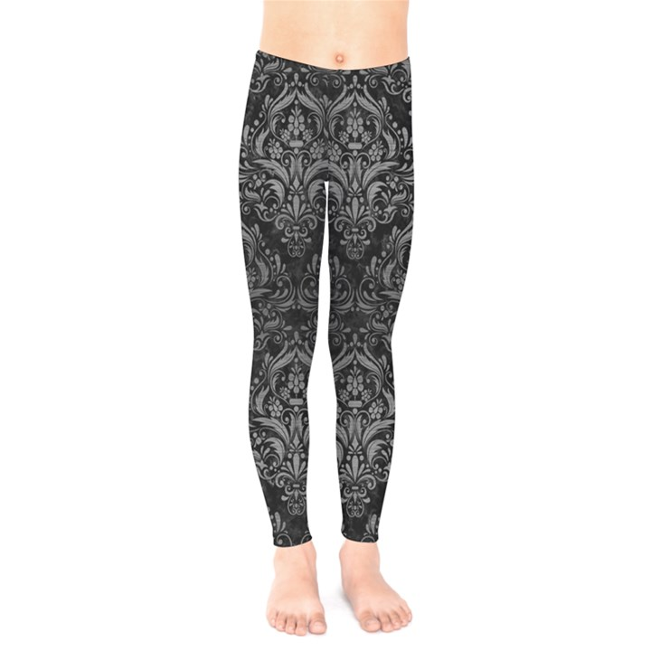 DAMASK1 BLACK MARBLE & GRAY BRUSHED METAL (R) Kids  Legging