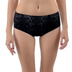 Damask2 Black Marble & Gray Brushed Metal Reversible Mid Waist Bikini Bottoms
