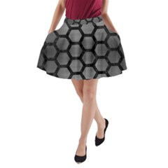 Hexagon2 Black Marble & Gray Brushed Metal A Line Pocket Skirt