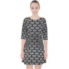 Scales3 Black Marble & Gray Brushed Metal Pocket Dress